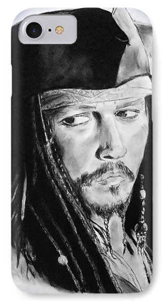 Johnny Depp As Captain Jack Sparrow In Pirates Of The Caribbean II IPhone Case by Jim Fitzpatrick