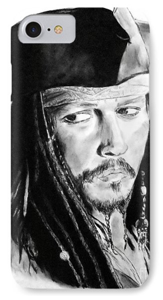 Johnny Depp As Captain Jack Sparrow In Pirates Of The Caribbean IPhone Case by Jim Fitzpatrick