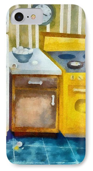 Kitchen With Broken Eggs IPhone Case by Michelle Calkins