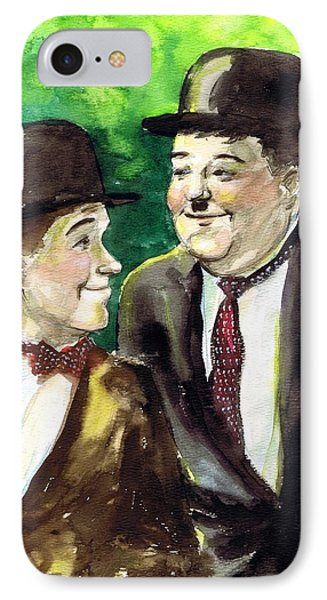 Laurel And Hardy Phone Case by Mel Thompson