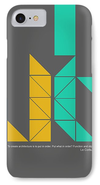 Le Corbusier Quote Poster IPhone Case by Naxart Studio