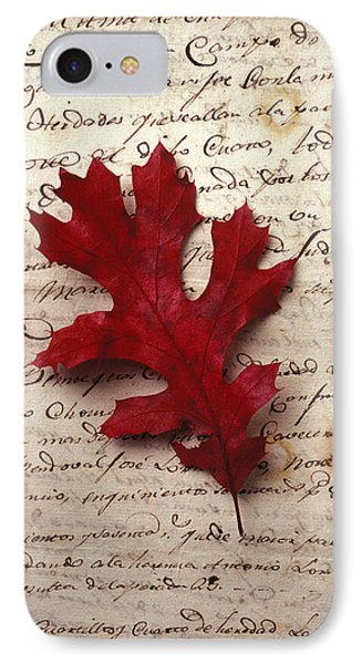 Leaf On Letter IPhone Case by Garry Gay