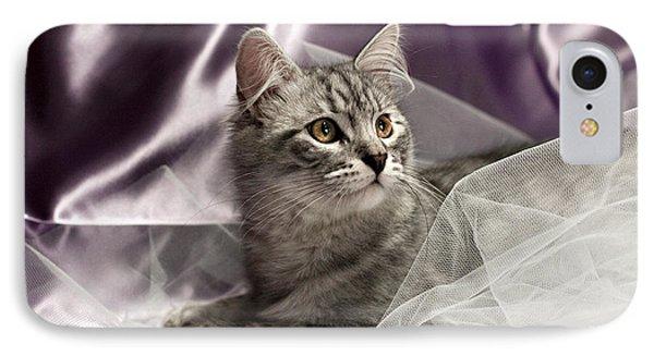 Little Cat On Lilac Phone Case by Raffaella Lunelli