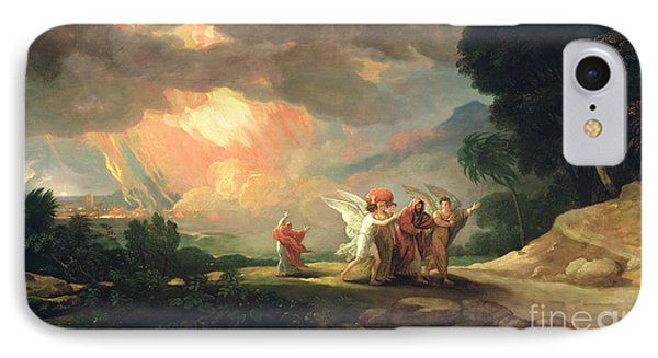 Lot Fleeing From Sodom Phone Case by Benjamin West