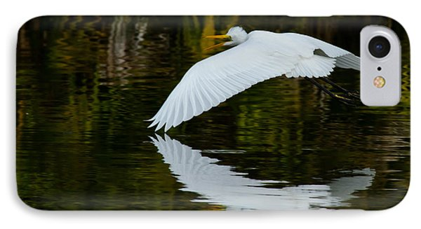 Low Flying Reflection Of Snowy Egret IPhone Case by Andres Leon