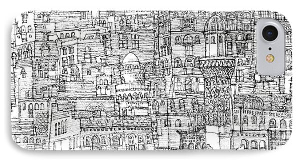Magical Architecture Of Yemen In Ink  IPhone Case by Adendorff Design