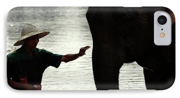 Mahut With Elephant Phone Case by Bob Christopher