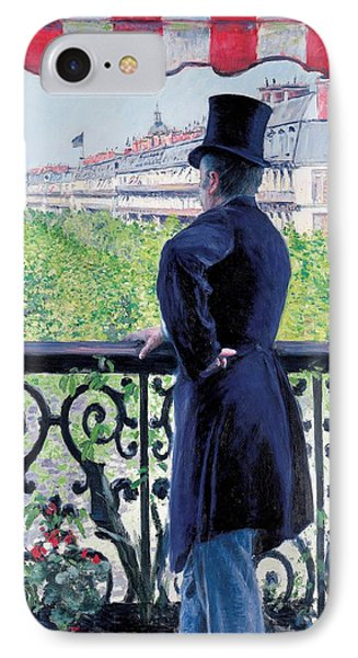 Man On A Balcony On Boulevard Haussmann IPhone Case by Gustave Caillebotte