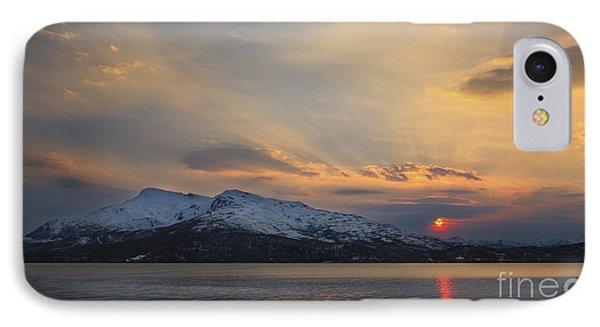 Midnight Sun Over Tjeldsundet Strait IPhone Case by Arild Heitmann