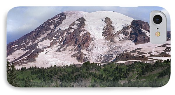 Mount Rainier With Coniferous Forest Phone Case by Tim Fitzharris
