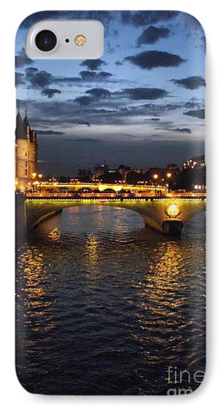 Night Fall Over The Seine Phone Case by Shawna Gibson