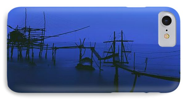 Old Fishing Platform Over Water At Dusk Phone Case by Axiom Photographic