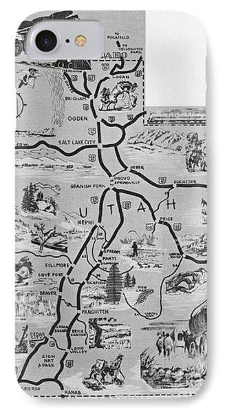 Old Map Of Utah Phone Case by Juls Adams