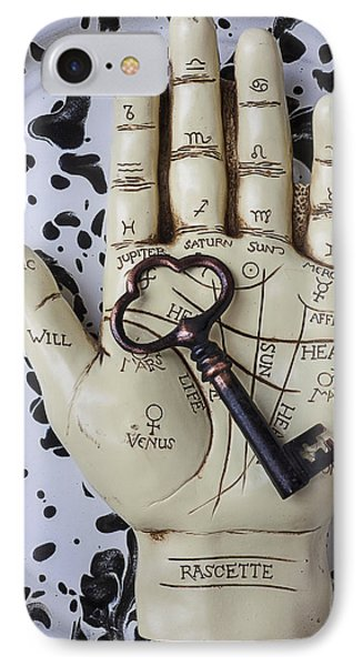 Palm Reading Hand And Key IPhone Case by Garry Gay