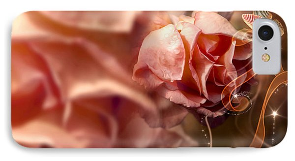Peach Roses And Ribbons Phone Case by Svetlana Sewell