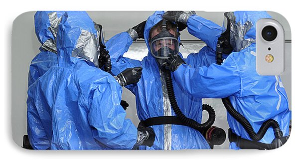 Personnel Dressed In Hazmat Suits Phone Case by Stocktrek Images