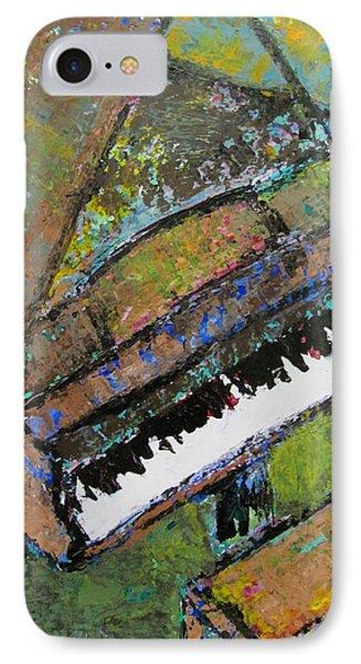 Piano Aqua Wall - Cropped Phone Case by Anita Burgermeister