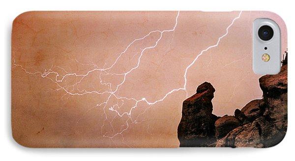 Praying Monk Camelback Mountain Lightning Monsoon Storm Image Tx Phone Case by James BO  Insogna