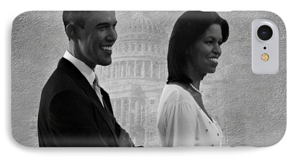 President Obama And First Lady Bw Phone Case by David Dehner