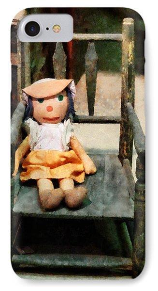 Rag Doll In Chair Phone Case by Susan Savad