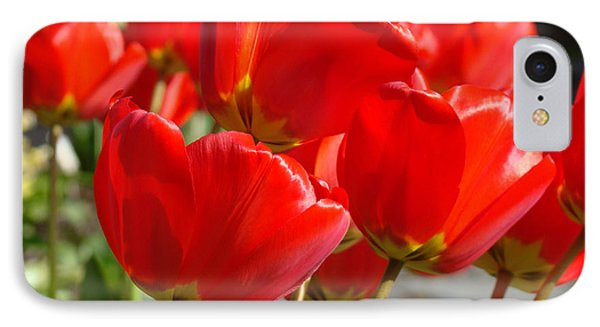 Red Art Spring Tulip Flowers Floral Phone Case by Baslee Troutman