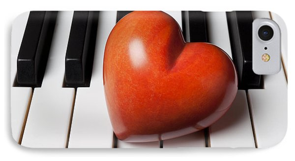 Red Stone Heart On Piano Keys Phone Case by Garry Gay
