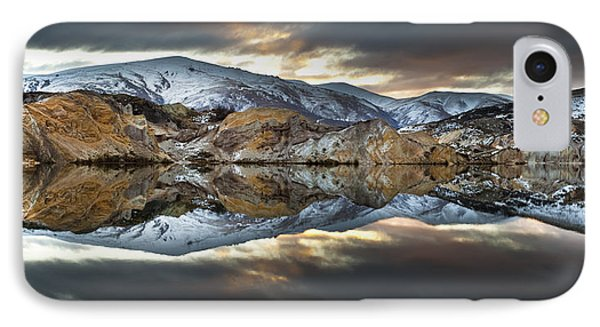 Reflections Of Cliffs On Blue Lake St Bathans Phone Case by Colin Monteath