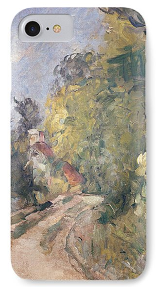 Road Turning Under Trees IPhone Case by Paul Cezanne
