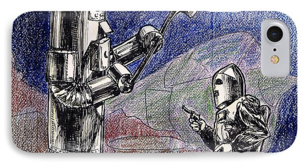 Rocket Man And Robot Phone Case by Mel Thompson