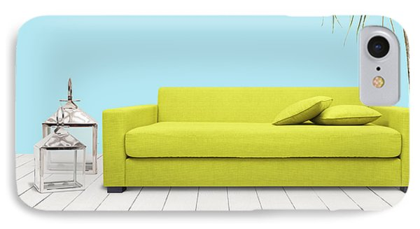 Room With Green Sofa Phone Case by Atiketta Sangasaeng