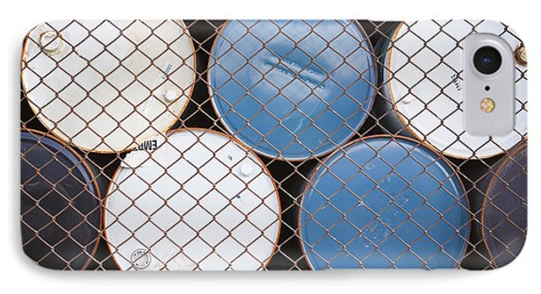 Rows Of Stacked Barrels Behind A Fence Phone Case by Paul Edmondson