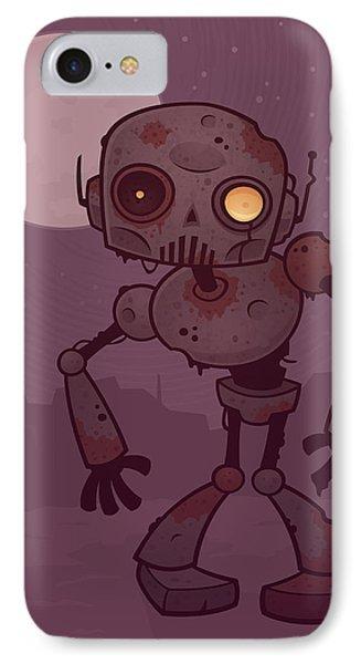 Rusty Zombie Robot IPhone Case by John Schwegel