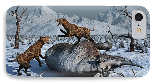 Sabre-toothed Tigers Battle Phone Case by Mark Stevenson