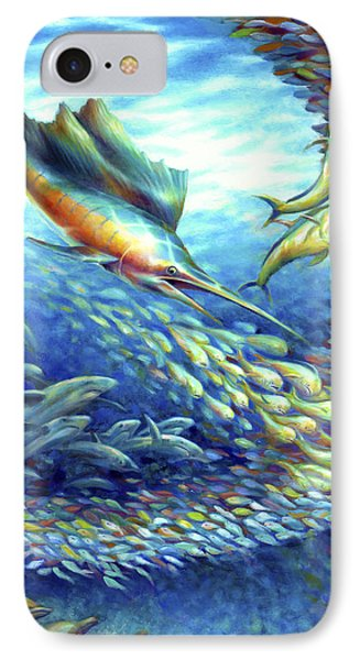 Sailfish Plunders Baitball II - Sharks And Dolphin Fish Phone Case by Nancy Tilles