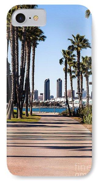 San Diego Skyline With Coronado Island Bayshore Bikeway Phone Case by Paul Velgos