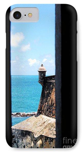 Sentry Tower View Castillo San Felipe Del Morro San Juan Puerto Rico Ink Outlines Phone Case by Shawn O'Brien