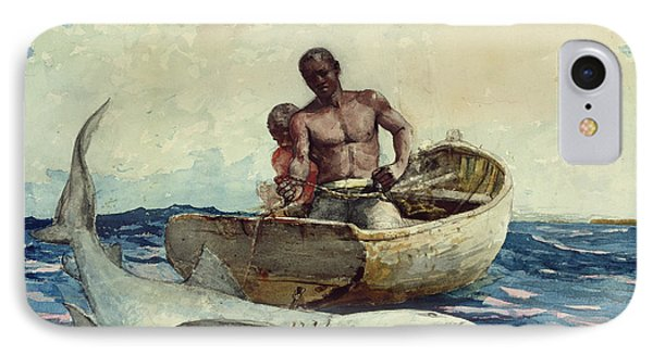 Shark Fishing IPhone Case by Winslow Homer