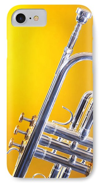 Silver Trumpet Isolated On Yellow IPhone Case by M K  Miller