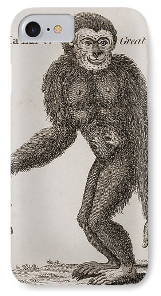 Simia Lar, Great Gibbon. Engraved By Phone Case by Ken Welsh