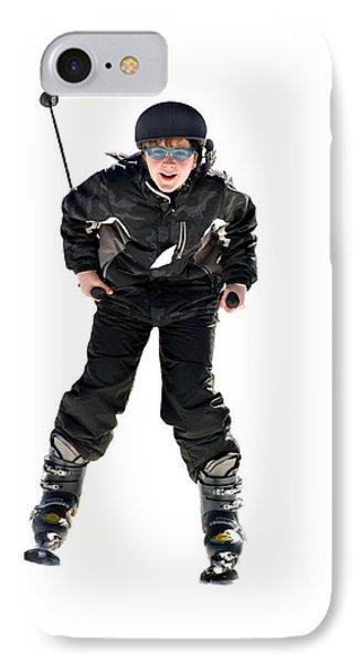 Skier Flying Phone Case by Susan Leggett