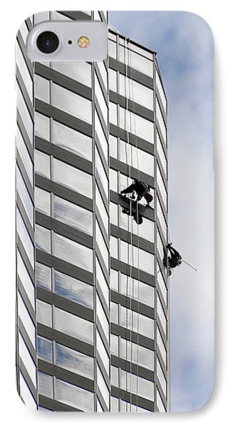 Skyscraper Window-washers - Take A Walk In The Clouds Phone Case by Christine Till