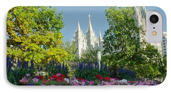 Slc Temple Flowers Phone Case by La Rae  Roberts