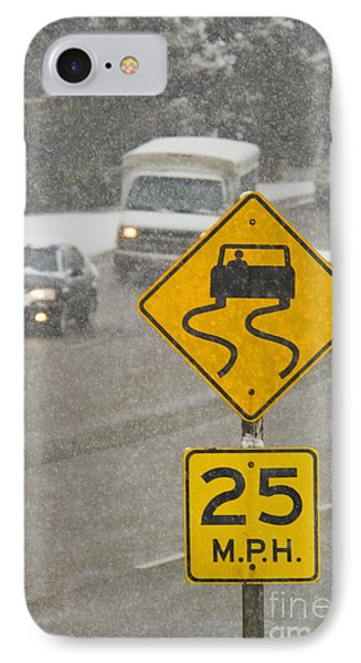 Slippery When Wet Road Sign IPhone Case by Thom Gourley/Flatbread Images, LLC