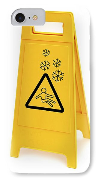 Snow Hazard Warning Sign IPhone Case by Lth Nhs Trust