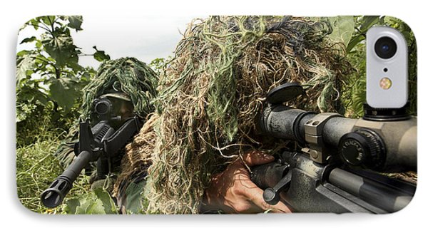 Soldiers Dressed In Ghillie Suits Phone Case by Stocktrek Images
