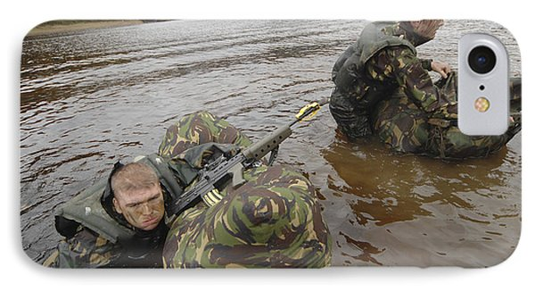 Soldiers Participate In A River IPhone Case by Andrew Chittock