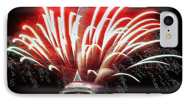 Space Needle Fireworks IPhone Case by Benjamin Yeager