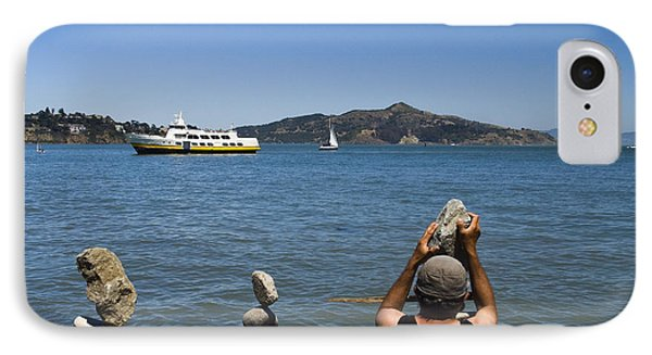 Stacking Rocks And Ferry IPhone Case by Tim Mulina