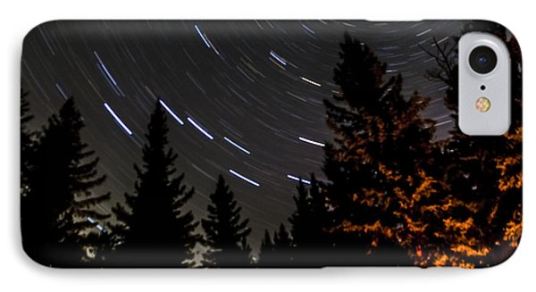 Star Trails Above Spruce Tree Line Phone Case by Darcy Michaelchuk