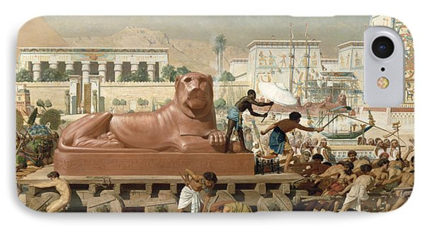 Statue Of Sekhmet Being Transported  Detail Of Israel In Egypt IPhone Case by Sir Edward John Poynter